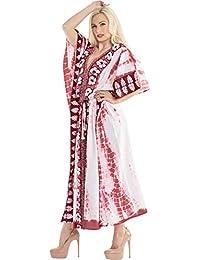 205fe3137 LA LEELA Mujeres Caftán Rayón túnica Tie Dye Kimono Libre tamaño Largo Maxi  Vestido de Fiesta para Loungewear Vacaciones…