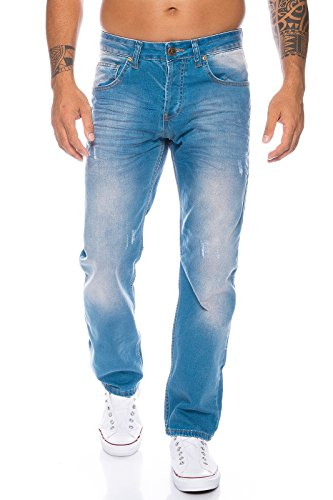 Rock Creek Herren Jeans Hose Denim Blau Straight-Cut Gerades LL-321 Hellblau W36 - Lang Jeans-rock