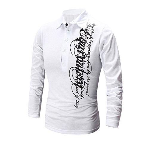 Elecenty Herren Sweat Pullover Hemd ,Langarmshirts Briefdruck Lässige Aufdruck V-Ausschnitt Rundkragen Knopf Herbst Bluse Poloshirt Männer Hoodie Sweatshirt (L, Weiß)