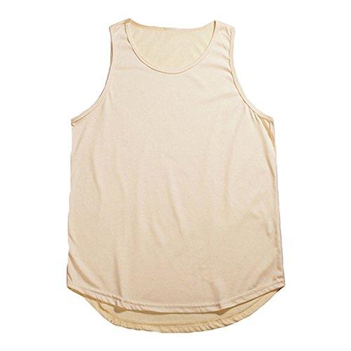 cotone da uomo con canotta Hip shirt da uomo di Yying Camicia senza maniche in jersey di Albicocca