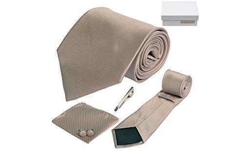 Coffret Hamilton - Cravate marron sépia, boutons de manchette, pince à cravate, pochette de costume
