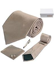 Coffret Cadeau Hamilton - Cravate marron sépia, boutons de manchette, pince à cravate, pochette de costume