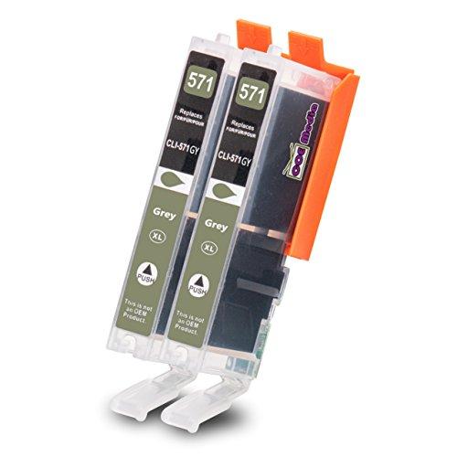 Preisvergleich Produktbild 2er Set - Kompatible Tintenpatrone zu CANON CLI-571 XLGY | 2x Grau mit je 11ml Inhalt | geeignet für Canon Pixma MG5750 / MG6850 / MG7750