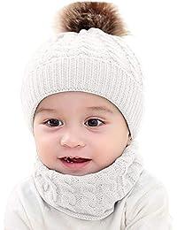 LILICAT❋ Bola de Lana de Punto cálido para niños, 2 Piezas Niño bebé niñas Niños Invierno de Punto Beanie Cap + Bufanda Mantener el Conjunto cálido