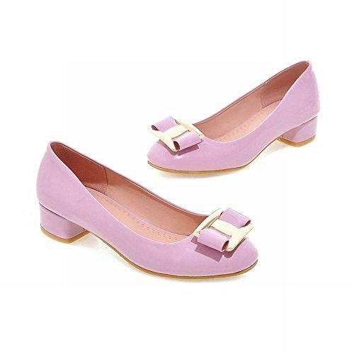 MissSaSa Damen Low-cut Chunky heel Slipper mit Schleife und Metall Schmuck bequem Lackleder Blockabsatz runde Spitze Kleidschuhe Violett