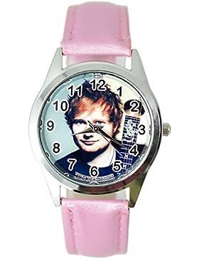 taport® ED SHEERAN Bergkristall rund Armbanduhr Pink Echt Leder Band + Gratis Ersatz Batterie + Gratis Geschenkverpackung