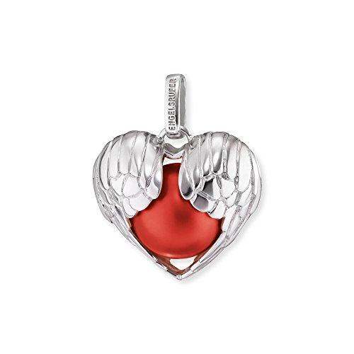 Engelsrufer Herzflügel Anhänger mit roter Klangkugel 925er-Sterlingsilber rhodiniert Größe 27 mm