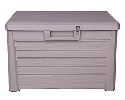 Kissenbox Florida Holz Optik Sitztruhe Auflagenbox Poolbox grau 120 Liter XL mit Gasdruckfedern von Ondis24 - Du und dein Garten