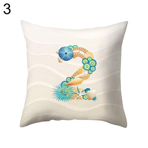 Gfjhgkyu Home Shell Starfish Letter Square Dekokissen Fall Kissenbezug Bettwäsche Artikel 3 -