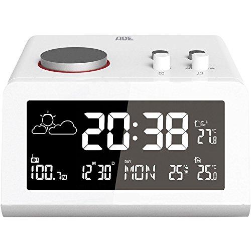 ADE Digitaler Radiowecker WS 1710 mit Funkuhr und Wetterdaten. Inklusive Wettervorhersage, Innen- und Außenthermometer, 2 Weckzeiten, Snooze, LED-Display, UKW Radio und Kalender. Farbe: Weiß