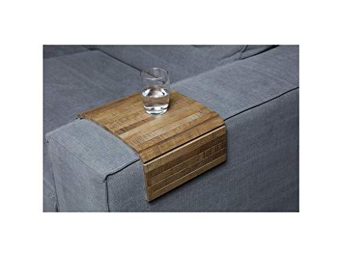 Sofatablett/Ablage Eiche Antik in Größe 44 x 24cm / Armlehnenschoner für Couch, Abstellplatz für Snacks und Getränke auf der Sofa Armlehne, Flexibel in der Breite -