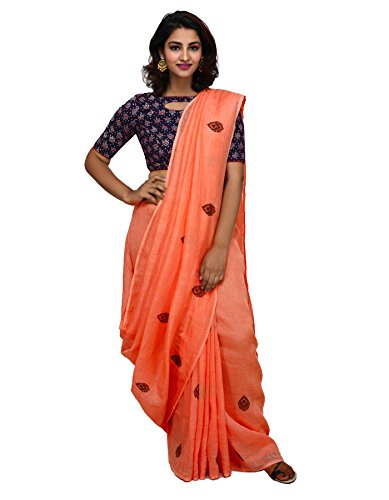 Unnati Silks Women Orange Cross Stitch Embroidery Pure Handloom Linen Saree With...