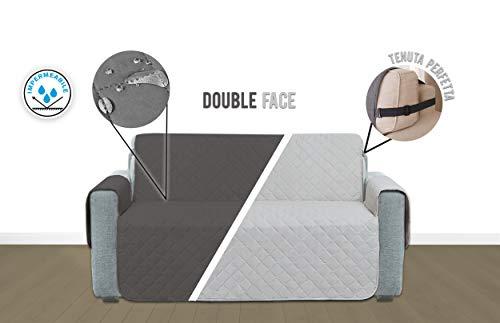 Kasashop monjo copridivano salvadivano impermeabile doubleface con laccetti protezione divano coperture su due lati anti caduta per cani e gatti (grigio chiaro/grigio scuro, divano 3 posti)