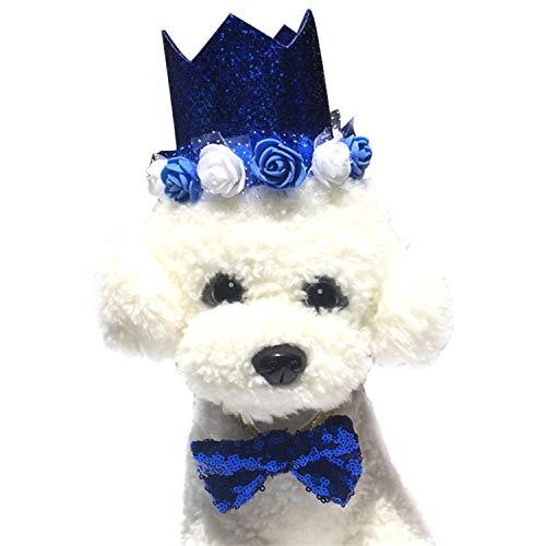 LAEMILIA 2 Pcs Huastiere Kostüm Klein Tiere Verkleidung Hut Halsband Pailletten Krone Kopfbedeckung Hund Katze Geburtstag Bowknot Kopfband Welpen Partykostüm Karneval Fasching Halloween Weihnachten