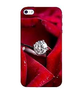 FUSON Diamond Ring Red Rose 3D Hard Polycarbonate Designer Back Case Cover for Apple iPhone 4