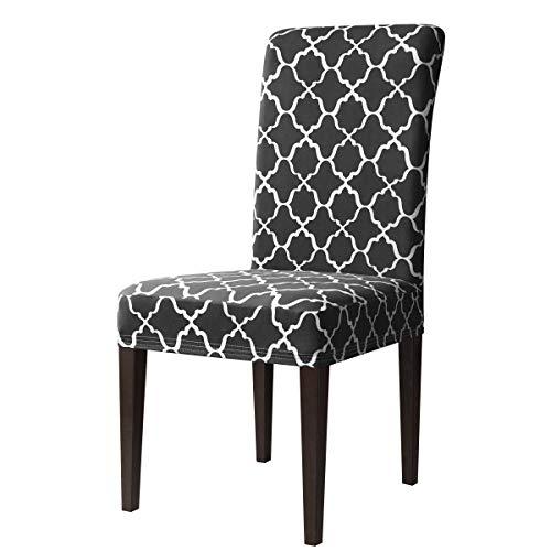 Subrtex coprisedie con schienale modern stampa copertura della sedia da pranzo, copertura protettiva universale elasticizzato rimovibile lavabile (2 pezzi, pattern grigio-1)