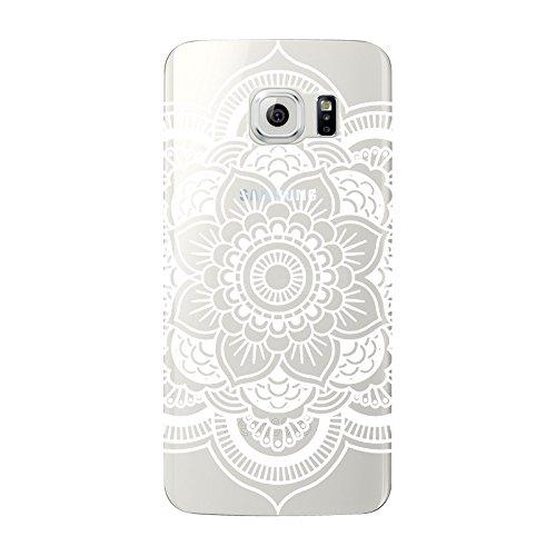 Samsung Galaxy S6- NOVAGO Coque gel souple avec impression fantaisie (Rosace blanche)