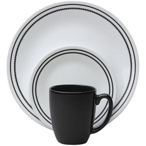 Corelle Livingware 16-Piece Dinnerware Set, Brilliant Black Beads, Service for 4 by World Kitchen (PA)