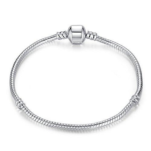 a3b7086e5 RKC Jewelz 15cm to 22cm Silver Plated Pandora style Snake chain CHARM  BRACELETS For Women Girls