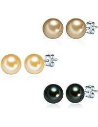 Valero Pearls - set de 3 boucles d'oreilles Perles de culture d'eau douce - Argent sterling 925 - Bijoux de perles, bijoux en argent boucles d'oreilles - 60200124