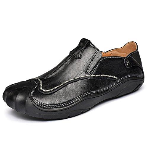 Lyzgf Hommes Casual Jeunesse De Pieds Faits À La Main Mode Lacing Paresseux Chaussures En Cuir Noir1