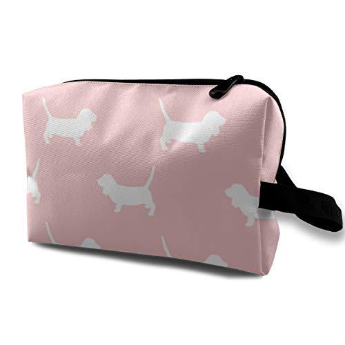 Basset Hound Pet Quilt D Silhouette Hund Rasse Stoff Coordinate 10058 Kulturtasche Kosmetiktasche Tragbare Make-up-Tasche Reise-Organizer Tasche für Frauen Mädchen 25,4 x 12,7 x 15,2 cm -