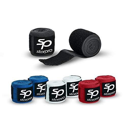 Starpro Boxbandagen Kampf mit Daumenschlaufe - Bandagen Halb elastische Boxhandschuhe mit extra weitem Klettverschluss - Boxbandage Hand für Boxen, MMA, Kickboxen - Boxbandage Sport (Black, 5 x 3.5m)