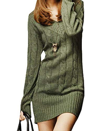 Robe en Maille Femme Elégante Vintage Automne Hiver Pull Long Mode Chic Manches Longues Loisir V Cou Slim Fit Thermo Warm Uni Manche Tricot Pull Sweater Pulli