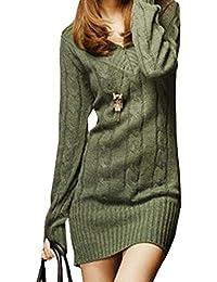 Vestiti in Maglia Donna Eleganti Vintage Autunno Invernali Abbigliamento  Maglioni Lunghi Manica Lunga Tempo Libero Slim 7799625d731