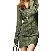 Vestiti in Maglia Donna Eleganti Vintage Autunno Invernali Abbigliamento  Maglioni Lunghi Manica Lunga Tempo Libero Slim f91d2ccec7b