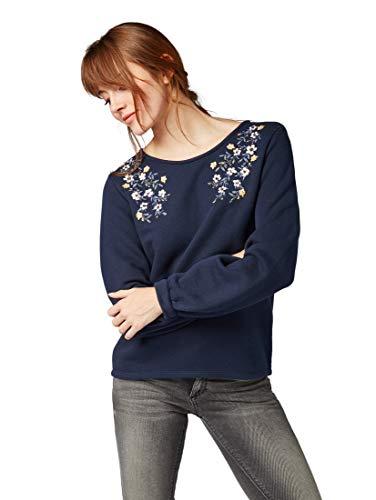 TOM TAILOR für Frauen Strick & Sweatshirts Sweatshirt mit Blumen-Stickerei Real Navy Blue, XS