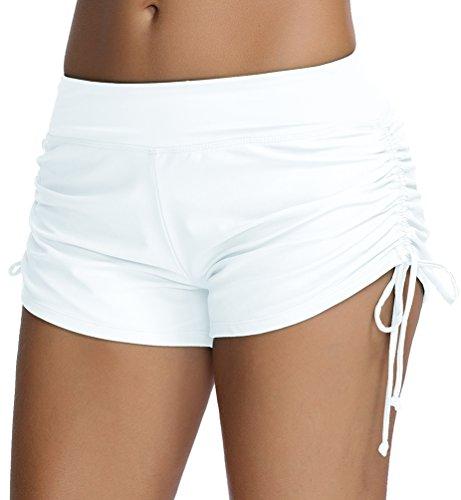 OLIPHEE Damen Badeshorts Bikinihose Wassersport Hotpants Verstellbare Kordel Bände Schwimmshorts Bunte Farben Weiß L (Farbe Boyshorts)