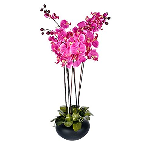 Homescapes Large Oriental Style Cerise Orchid with Silk Flowers in