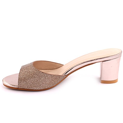 Unze Femmes 'Maddy' Glittery mi-bas talon Block Party Prom Get Together Brunch Carnaval Mariage Soirée Sandales Talons Chaussures Uk Taille 3-8 Or