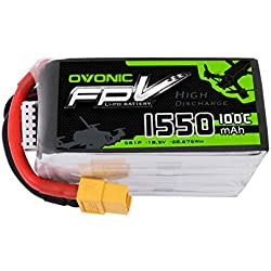 OVONIC 1550mAh 18.5V 5S 100C Lipo Battery XT60 for Professional FPV Racing Competitions