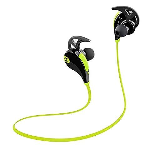 Soundpeats Qy7 Bluetooth 4.1 Wireless Schweißfänger Sport Stereo In-Ear-Kopfhörer mit AptX Technologie und Mikrofon der Freisprechfunktion für iPhone 6 6 Plus 5S 5C 5 4S iPad, Samsung Galaxy S4 S3 Note 3 und andere Handy