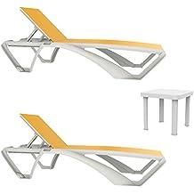 Resol Set de 2 tumbonas Marina Estructura Blanca, textilene Amarillo y 1 Mesa Auxiliar Andorra