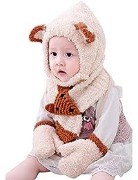 Boomly Unisex Baby Bambino Invernali Carino Cartone Animato Caldo Antivento  Sciarpa con Cappuccio Cappello in Lana bf746d684e0e