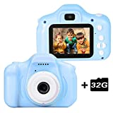 "le-idea Kinder Kamera, Kids Camera Digitalkamera mit HD 1080P / Dual 12 Megapixel Kamera/ 2.0"" IPS Bildschirm /32G TF-Card Enthalten(Blau)"
