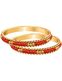 JFL - Traditional Ethnic Fusion One Gram Gold Plated Red Bead Designer Bangle For Women & Girls