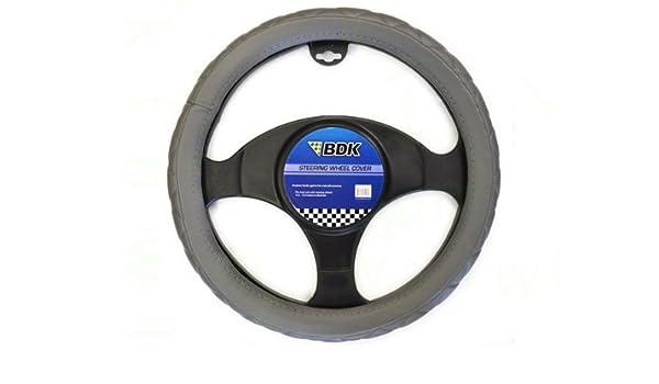 BDK Black Genuine Leather Steering Wheel Cover Large 15-16
