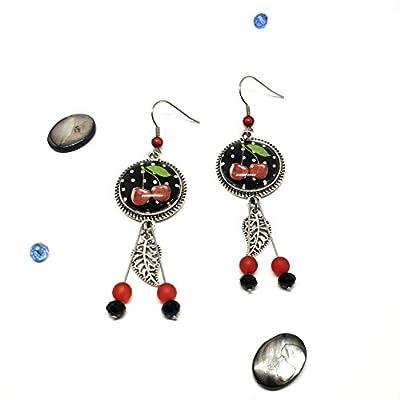 Boucles d'oreilles Cerises noir rouge pendantes acier inoxydable