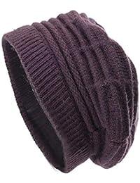 CHENNUO Bonnet Femme Hiver Tricotée Bonnet Chaud Beanie Chapeau Laine  Beanie Hats 93d1dc43dab