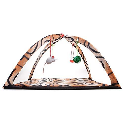 Cheng Terry Hound Comfort Bed Cat Mobile Activity Spiel Mat Pet Gepolsterte Bett mit Hängende Spielzeug Glocken Bälle und Mäuse Kennel Cat Puppy Dog Sofa House Bed (Color : Brown) -