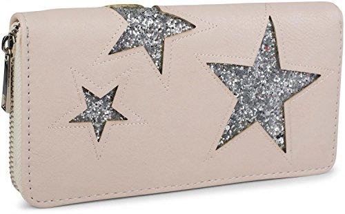 styleBREAKER Geldbörse mit Stern Cutout Muster und Pailletten, umlaufender Reißverschluss, Portemonnaie, Damen 02040046, ()