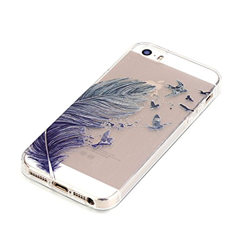 iPhone 5s Hülle,iPhone SE Hülle,iPhone 5 TPU Hülle,Fodlon® Ultra dünn Tropfenschutz / Shock-Absorption mit Anti-Scratch Silikon-TPU-Fall-Abdeckung für iPhone 5 5s SE-Traumfänger Farbige Federn