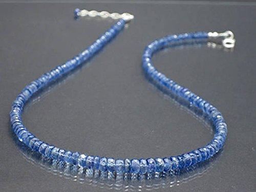 Luce blu cianite pietra preziosa collana pietra preziosa cianite pietra dei nati ottobre estate collier accessori, gioielli, regalo di compleanno, 4-6mm 47cm