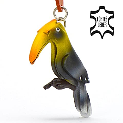 Nashornvogel Frida - Hornbills of the World Schlüsselanhänger Figur aus Leder von Monkimau in gelb schwarz - Dein bester Freund. Immer dabei! - 5x2x4cm LxBxH klein, jeweils 1 Stück
