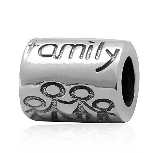 """Soulbead - distanziatore con scritta """"family life"""" in argento sterling 925per braccialetti di marchio europeo"""