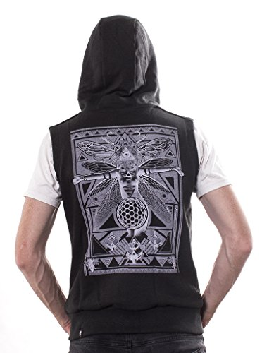 Fly Illuminati Gilet for Men - Sleeveless Zip Up Hoodie - Premium Urban Clothing in Black - Large